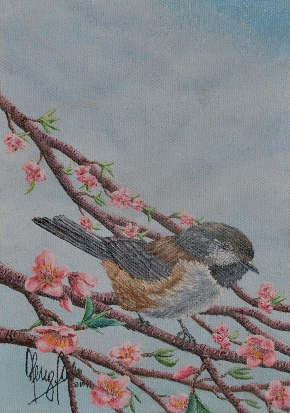 Apple Blossom Black-Capped Chickadee